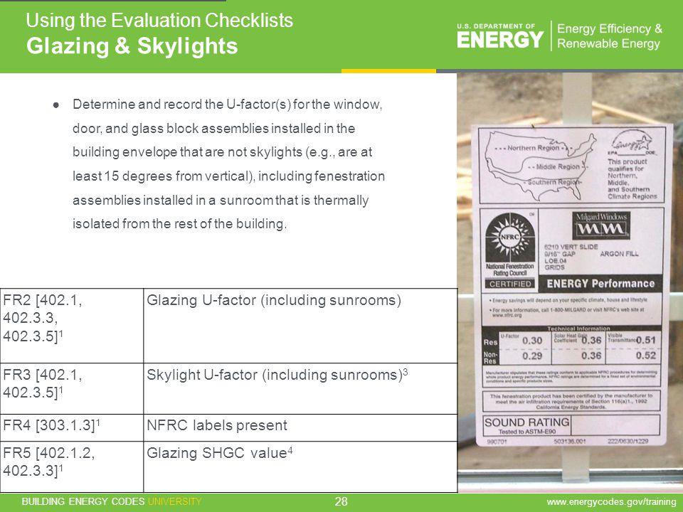 Glazing & Skylights Using the Evaluation Checklists FR2 [402.1,